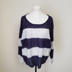 Free People Striped Oversized Mohair Blend Sweater